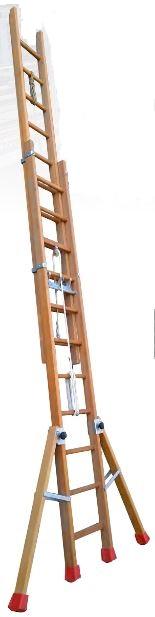 Échelle à coulisse à corde 2 plans bois 3M50