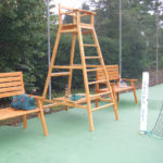 Chaise d'arbitre bois club de tennis